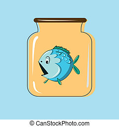 Glass jar with canning fish Vector design