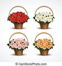 Set Baskets of Roses Isolated - Vector Set Baskets of Roses...