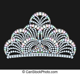 diadem feminine with brilliant gems on black - illustration...