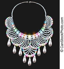 necklace female brilliant with jewels on black