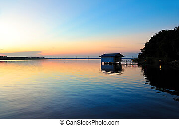 Fishing Boat Dock at Sunset on the St. John's River in...