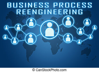 Business Process Reengineering concept on blue background...