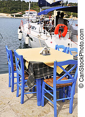 Greek terrace from the restaurant in the harbor
