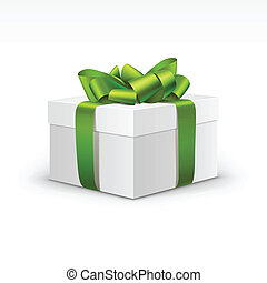 White Gift Box with Light Green Ribbon Isolated