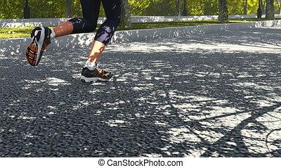 Runner's foot in sneakers close up