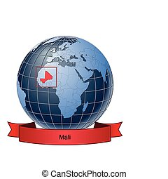 Mali, position on the globe Vector version with separate...