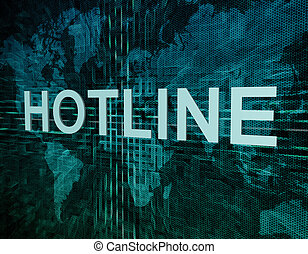 Hotline text concept on green digital world map background