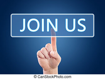 Join us - Hand pressing Join us button on interface with...