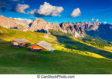 View on the Sassolungo (Langkofel) and Sella group, valley...