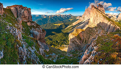 View of the Odle - Geisler group. National Park valley Val...