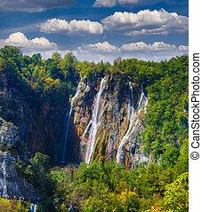 hermoso, cascada, paisaje, roca