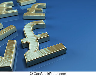 Pound sterling symbol - 3D illustration with pound sterling...