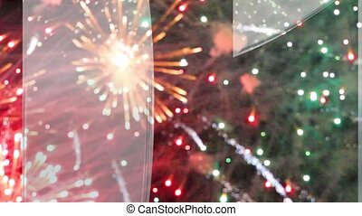 Christmas background with fireworks. 2015