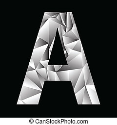 crystal letter A - illustration with crystal letter A on a...