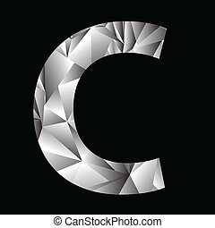 crystal letter C - illustration with crystal letter C on a...