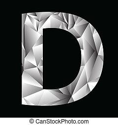 crystal letter D - illustration with crystal letter D on a...
