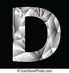 crystal letter D - illustration with crystal letter D on a...