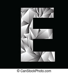 crystal letter E - illustration with crystal letter E on a...