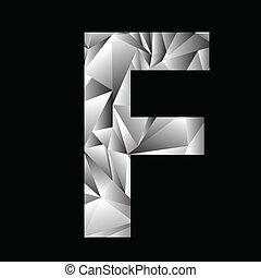 crystal letter F - illustration with crystal letter F on a...