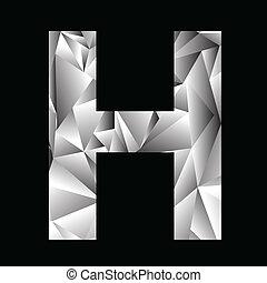 crystal letter H - illustration with crystal letter H on a...