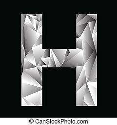 crystal letter H - illustration with crystal letter H on a...