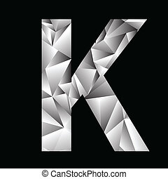 crystal letter K - illustration with crystal letter K on a...