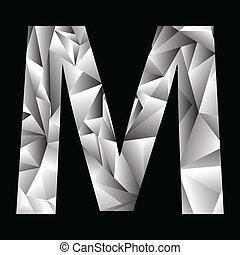 crystal letter M - illustration with crystal letter M on a...