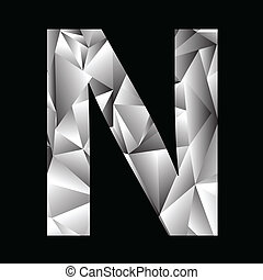 crystal letter N - illustration with crystal letter N on a...