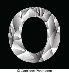 crystal letter O - illustration with crystal letter O on a...