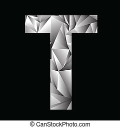 crystal letter T - illustration with crystal letter T on a...