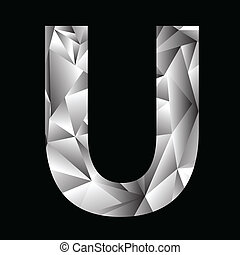 crystal letter U - illustration with crystal letter U on a...