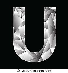crystal letter U - illustration with crystal letter U on a...