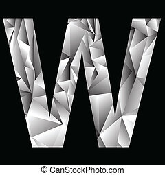 crystal letter W - illustration with crystal letter W on a...