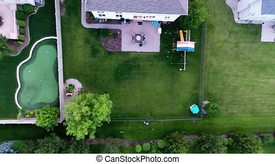 Aerial golf green nature landscape - Aerial view of backyard...