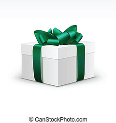 White Gift Box with Green Ribbon Isolated