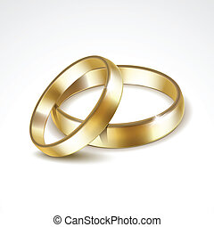 Vector Gold Wedding Rings Isolated