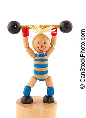 weight lifting by a doll isolated over white