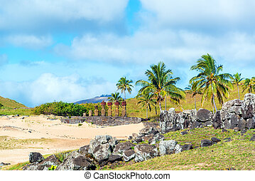 Anakena at Easter Island - Moai statues at Anakena beach on...