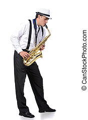 Saxophone player in white shirt. Isolated on white...
