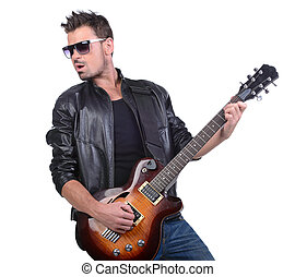Guitar player - Young musician playing guitar, isolated on...