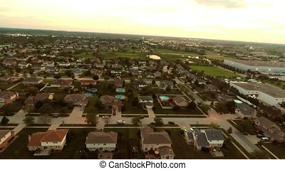 Aerial flight residential houses - Aerial view houses in...