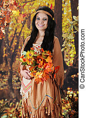 Flower Gathering Indian Maiden - A beautiful teen Indian...