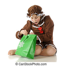Surprised Gingerbread Girl - A barefoot gingerbread girl...