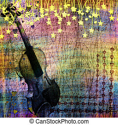 Abstract multicolored background with violin and stars for...