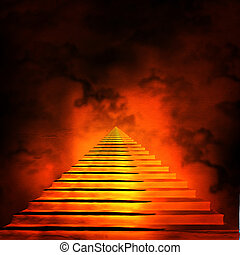 Staircase leading to heaven or hell. Light at the End of the...