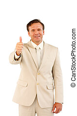 Senior business manager with thumb up