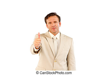 Confident business manager showing thumbs up