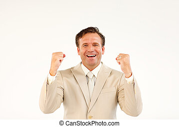 Cheerful business manager holding hands upwards