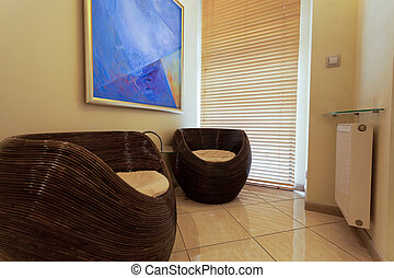 Waiting room in spa - Horizontal view of a waiting room in...