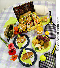 Picnic Hamper - Selection of food for a picnic with a...